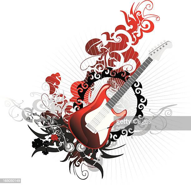 rock guitar over abstract floral background