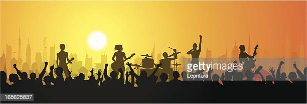 rock in the city - popular music concert stock illustrations
