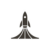 Rock launch icon. Vector design spaceship lifting off with smoke illustration
