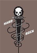 Rock microphone with a skull. Music poster.