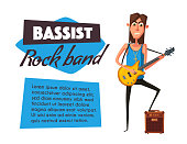 Rock music band character. Old school party. Cartoon vector illustration.