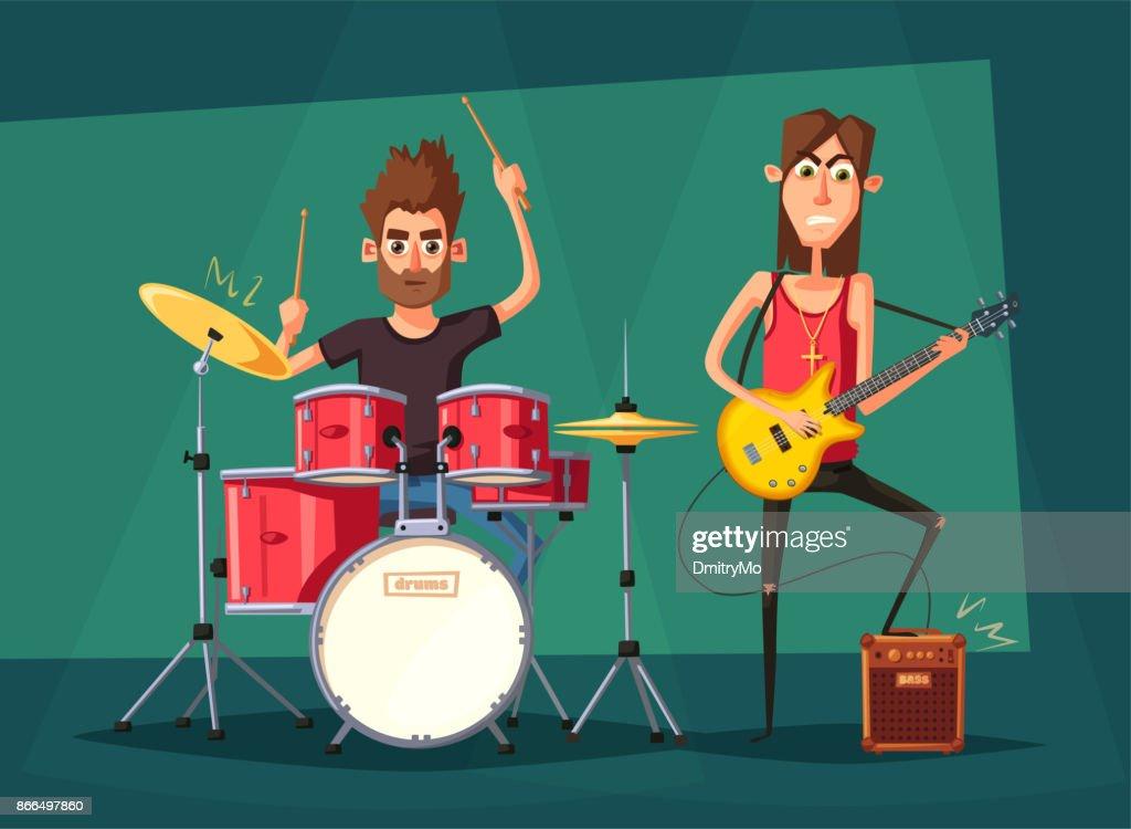 Rock music band. Old school party. Cartoon vector illustration.