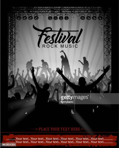 rock music festival - watching stock illustrations