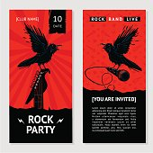Rock music flyer. Concert invitation with bird.