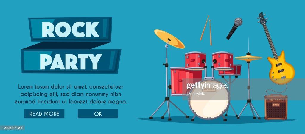 Rock music poster. Old school party. Cartoon vector illustration.