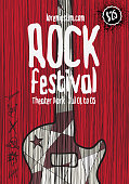 Rock music poster template.