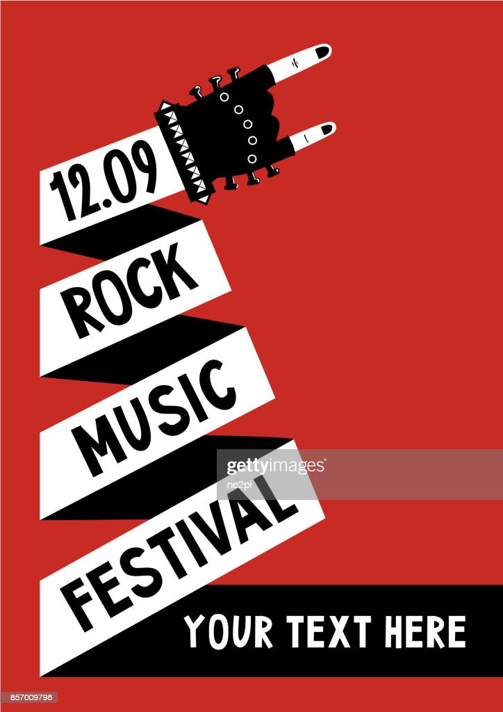 Rock music poster with hand. Billboard template