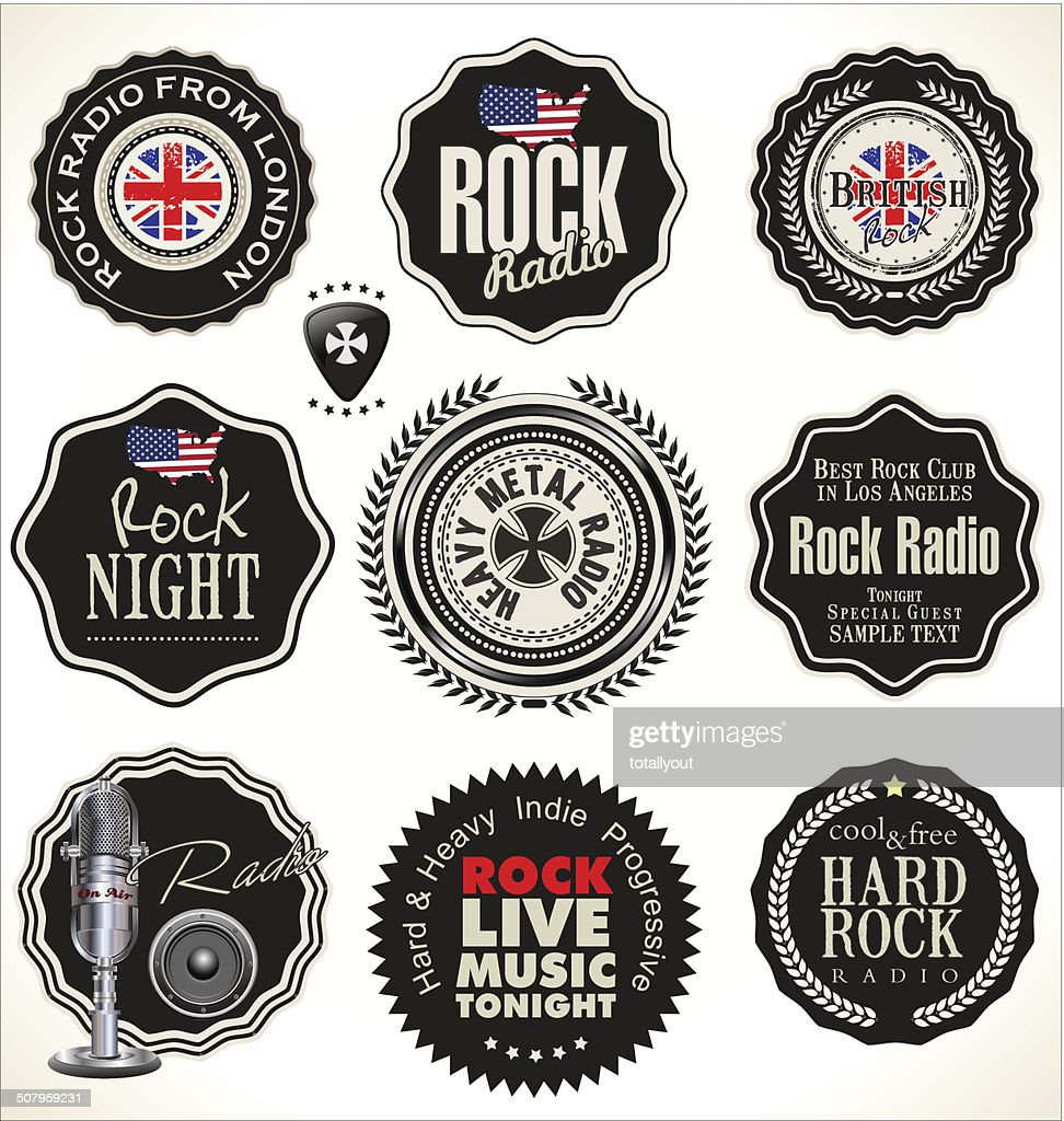 Rock music retro labels