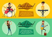 Rock music set. Old school party. Cartoon vector illustration.