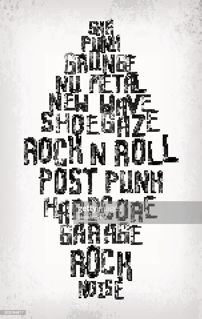 Rock music styles tag cloud, grunge oldschool typography stamp