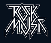 Rock Music - vector black and white logo, emblem