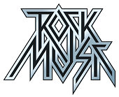 Rock Music - vector metal logo, emblem, label