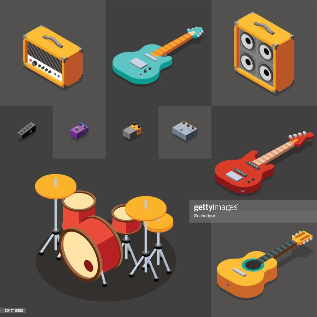Rock Musical Instruments Icons Set. 3D Isometric Low Poly Flat Design. Vector illustration.