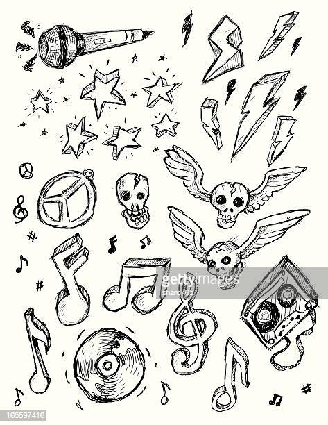 rock n roll doodles - rock music stock illustrations