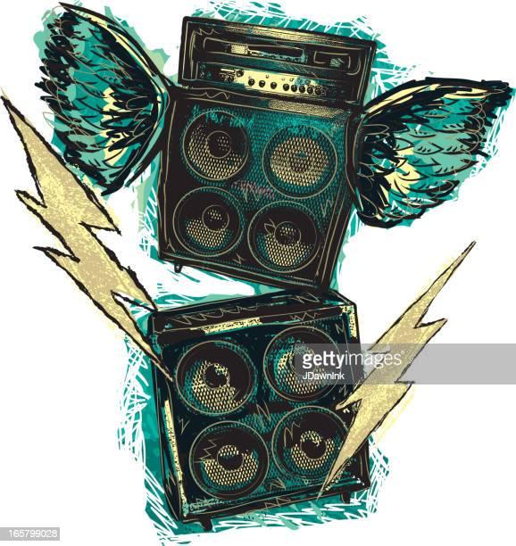 ilustraciones, imágenes clip art, dibujos animados e iconos de stock de rock and roll apilado amplificadores con alas y pernos - bajo eléctrico