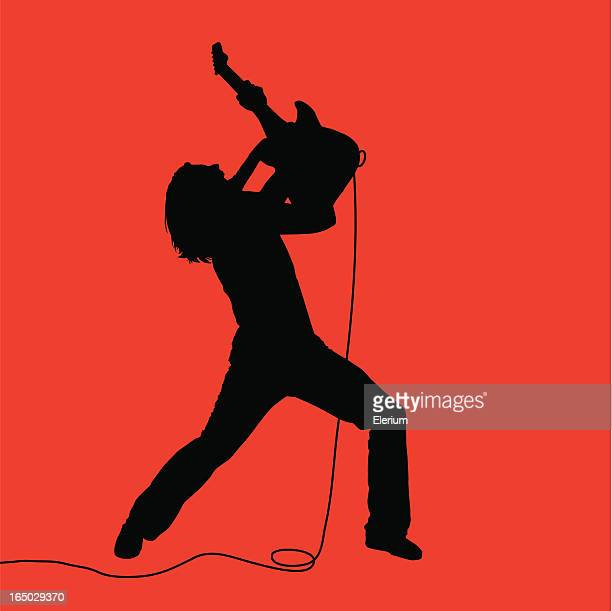 rock out! air guitarist 07 - guitarist stock illustrations, clip art, cartoons, & icons