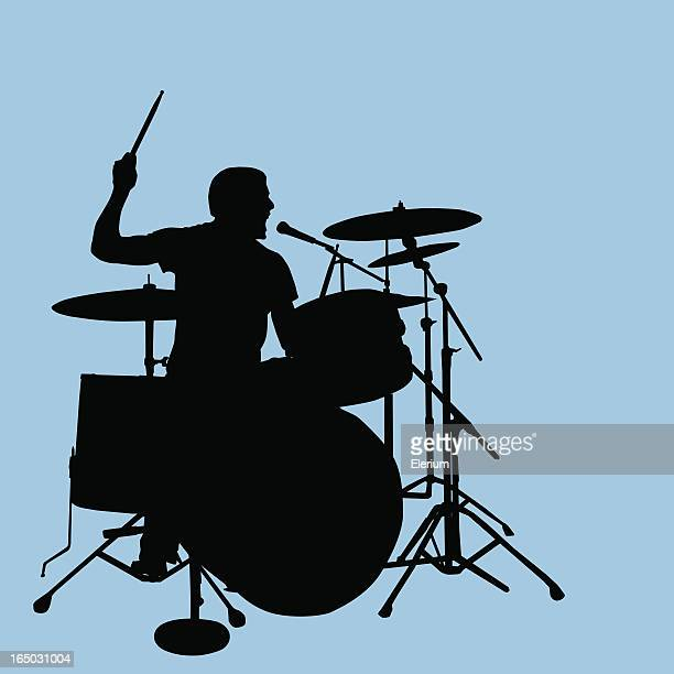 rock out! drummer singing backups - snare drum stock illustrations, clip art, cartoons, & icons
