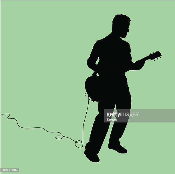 rock out! guitarist jammin' - guitarist stock illustrations, clip art, cartoons, & icons