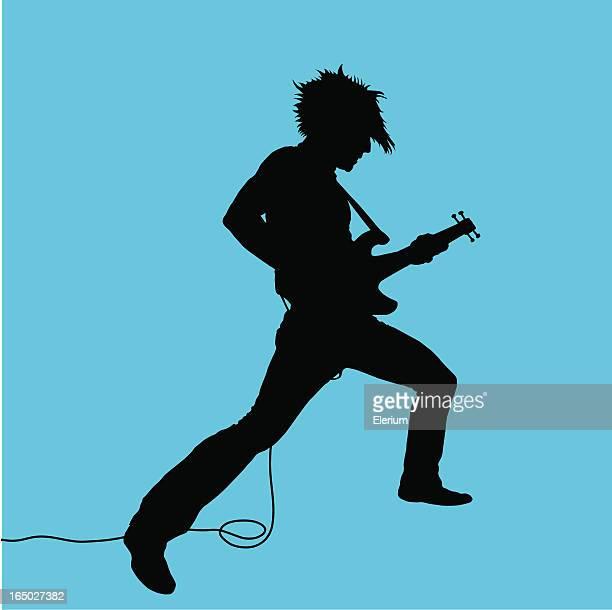 rock out! guitarist #03 - bass instrument stock illustrations, clip art, cartoons, & icons