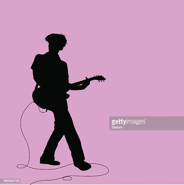 rock out! twisting guitarist - guitarist stock illustrations, clip art, cartoons, & icons