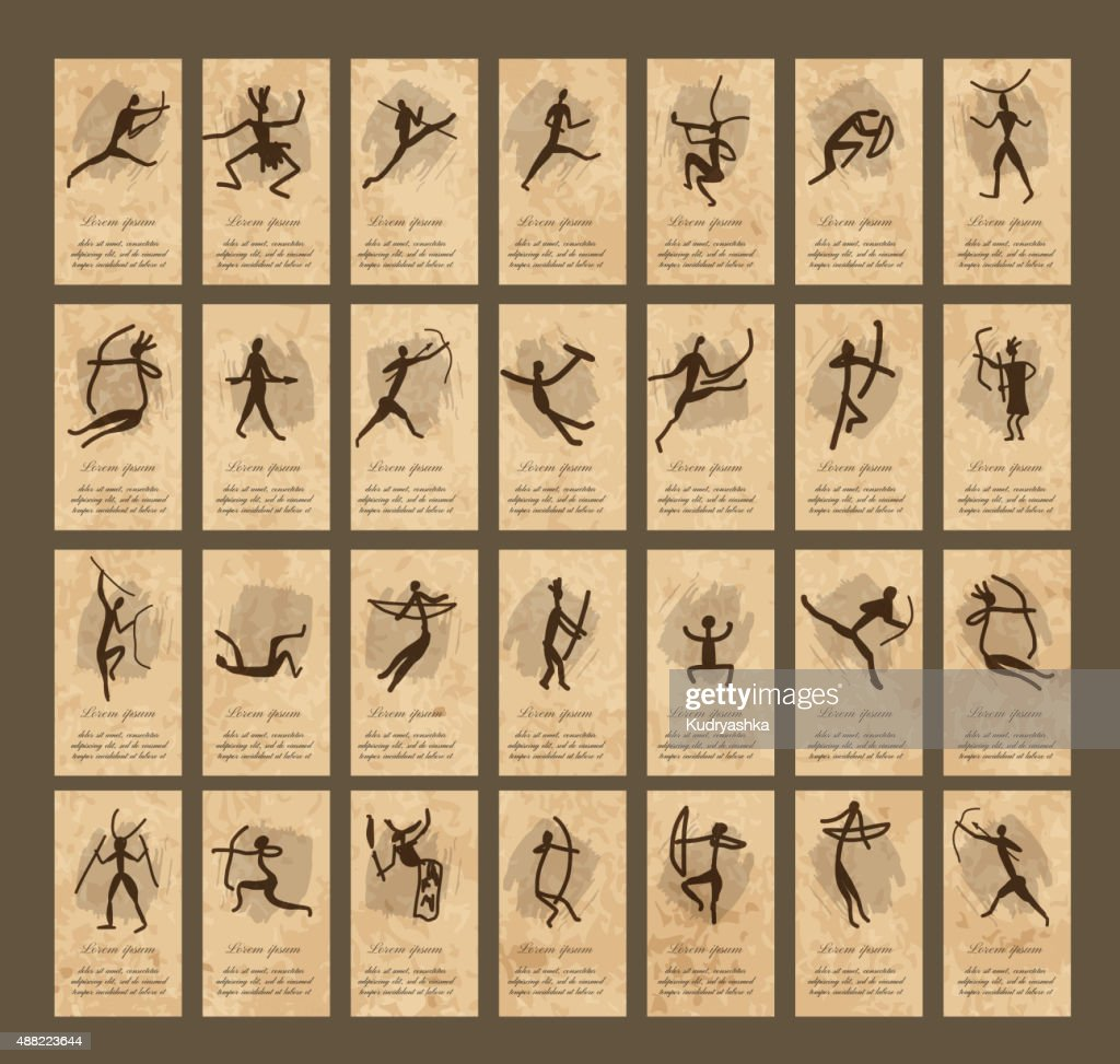 Rock paintings with ethnic people, business cards
