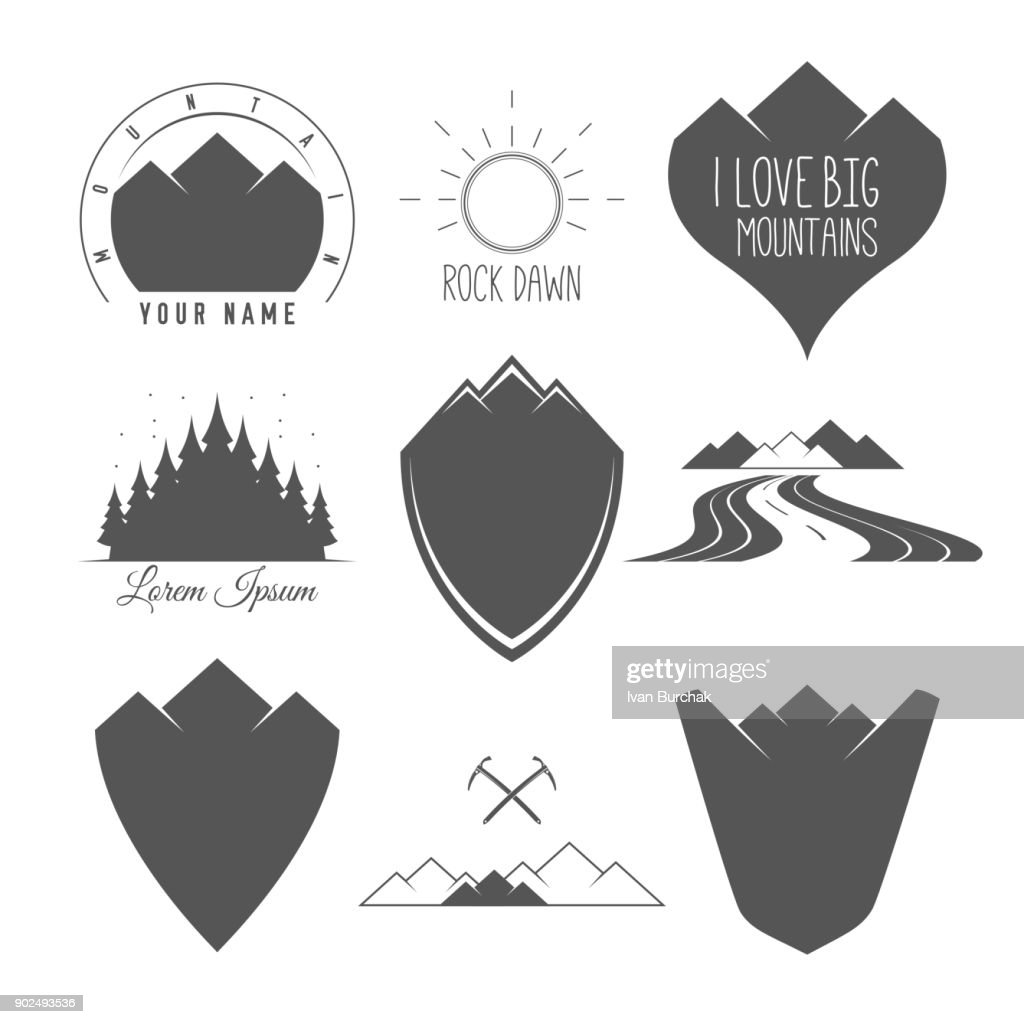 Rock Road - Shield - Forest and Sun - Set of Silhouette Vector Emblems and Badges Alpine Adventure Related