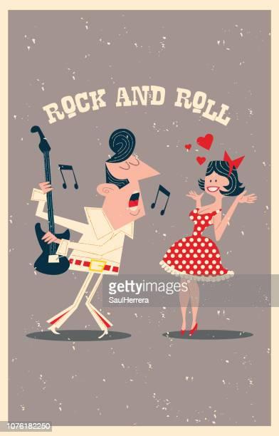 rock singer - pop musician stock illustrations