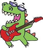 Rock star dinosaur playing the electric guitar . Vector illustration.