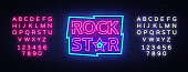 Rock Star Neon Sign Vector Illustration. Design template neon signboard on Rock Music, Light banner, Bright Night Advertising. Vector. Editing text neon sign