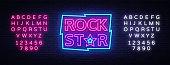 Rock Star Neon Sign Vector Illustration. Design template neon signboard on Rock Music, Light banner, Bright Night Advertising. Vector. Editing text neon sign