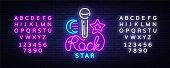 Rock Star Neon Sign Vector. Rock Star logo vector design template, nightlife, live music, karaoke, light banner, night bright neon advertising for nightclub, pub, bar. Vector. Editing text neon sign