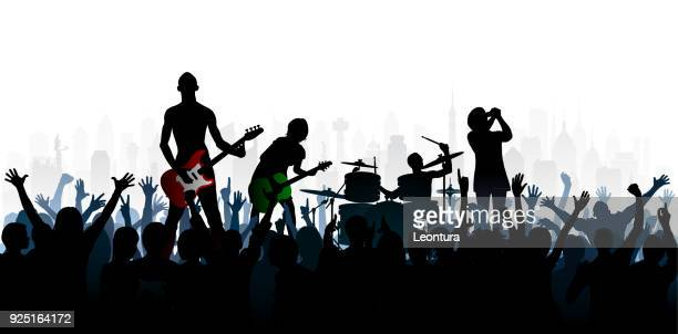 rock (people are complete- a clipping path hides the legs) - bass instrument stock illustrations, clip art, cartoons, & icons