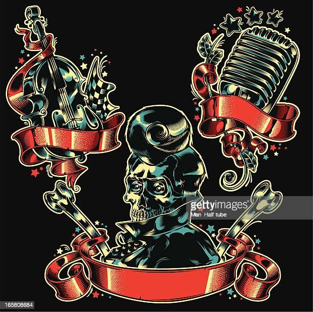 rockabilly set - goth stock illustrations, clip art, cartoons, & icons