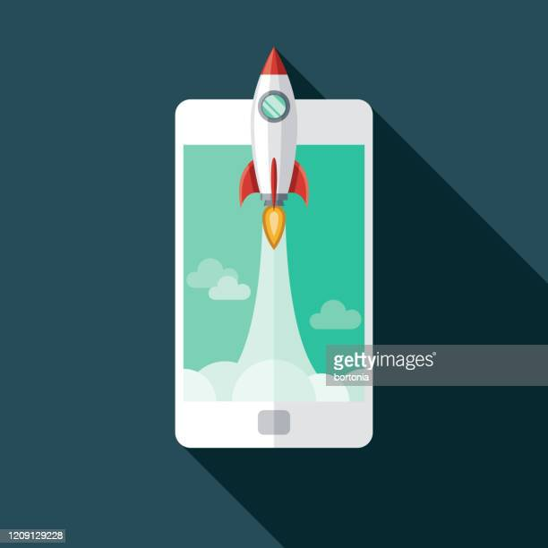 rocket blastoff icon - launch event stock illustrations