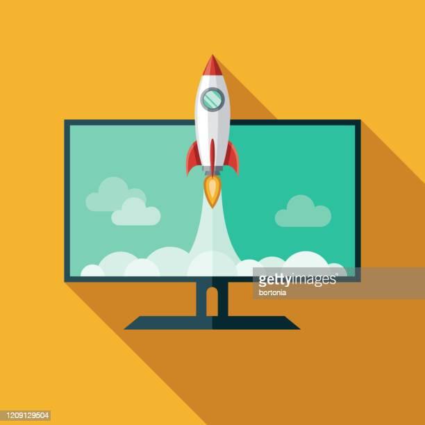 rocket blastoff icon - launch event stock illustrations