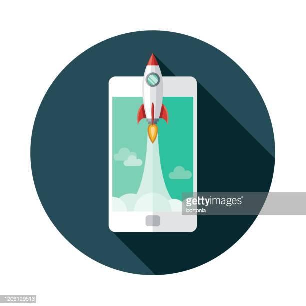 rocket blastoff icon - stapellauf stock-grafiken, -clipart, -cartoons und -symbole