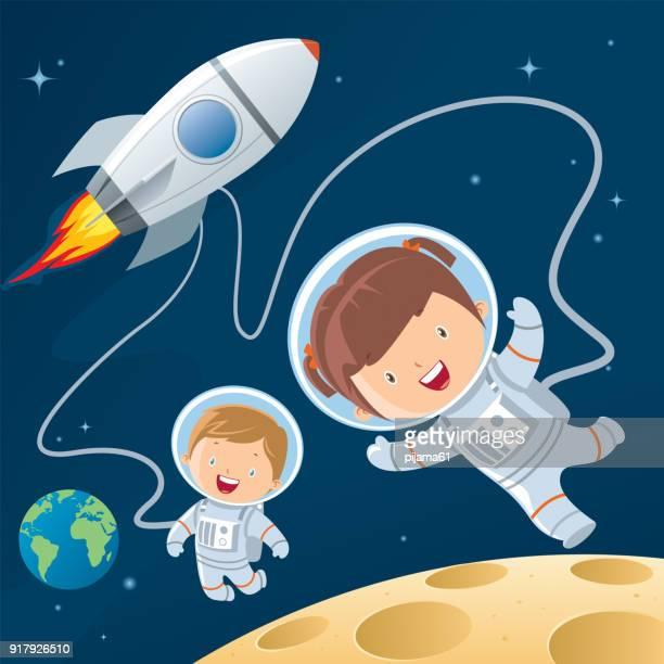 ilustrações de stock, clip art, desenhos animados e ícones de rocket during a space travel. - astronauta