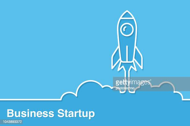rocket icon launching from floor startup concepts - launch event stock illustrations