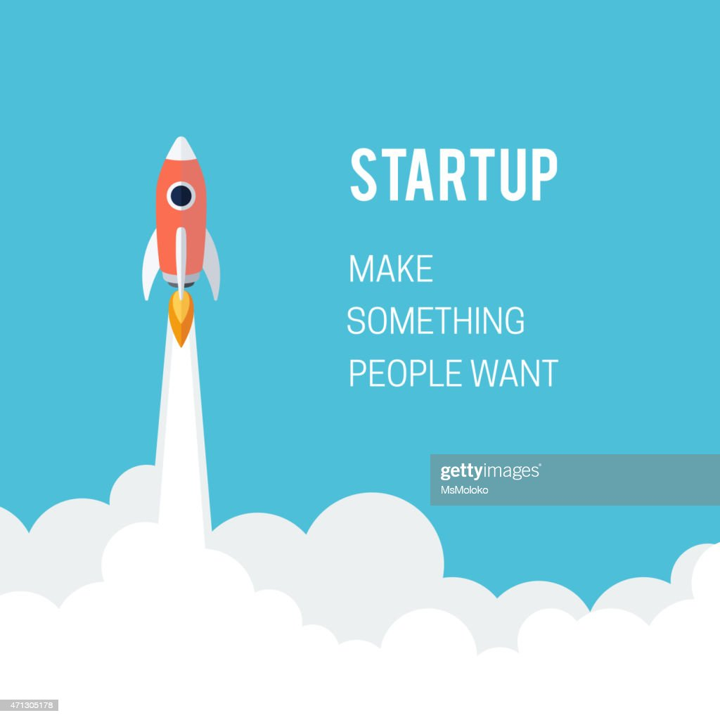 Rocket illustration for a business startup launch concept