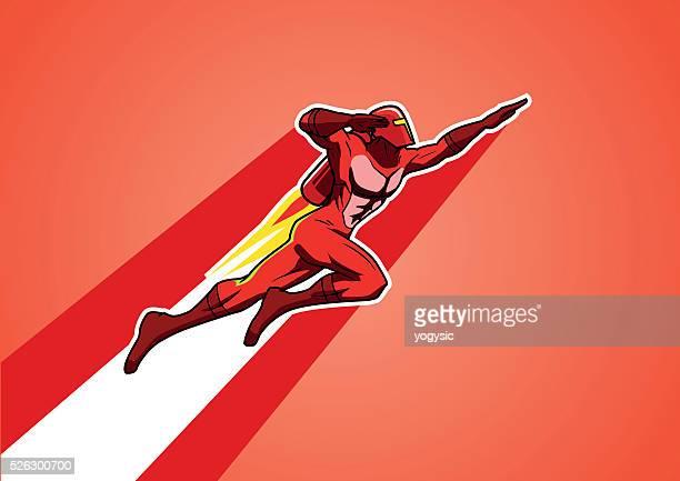 ilustraciones, imágenes clip art, dibujos animados e iconos de stock de cohete jetpack superhéroe - agilidad