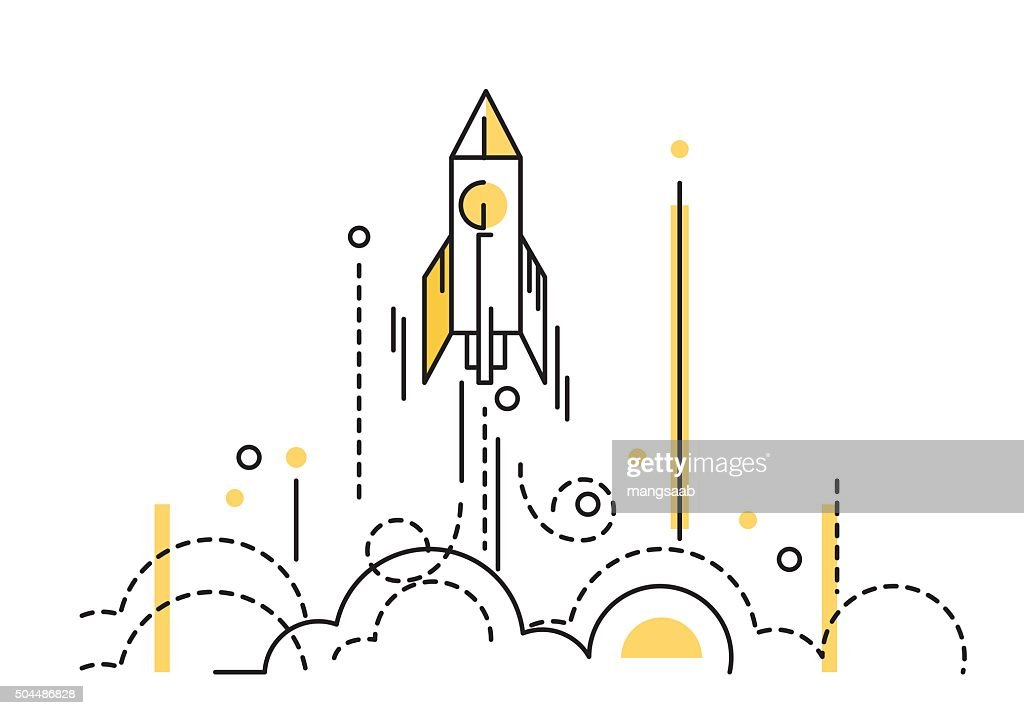 Rocket launch. creative start up.