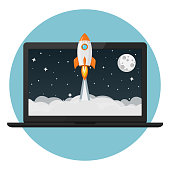 rocket launch from laptop flat design