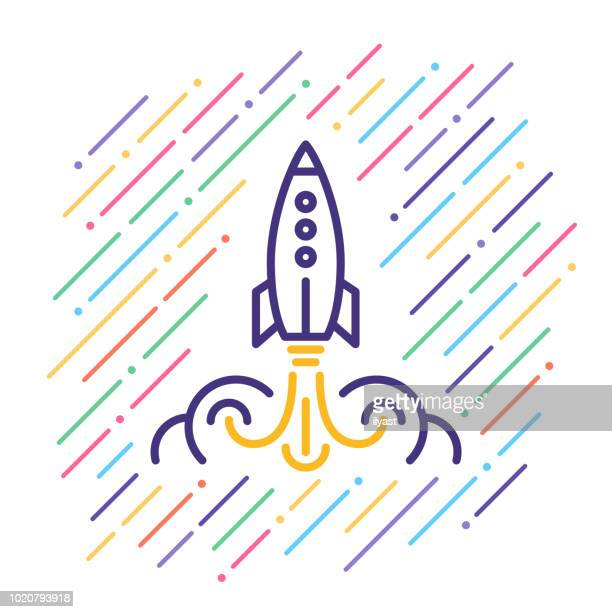 rocket launch line icon - launch event stock illustrations