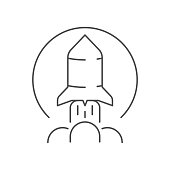 rocket launch line icon flat style