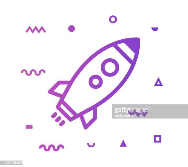 illustrazioni stock, clip art, cartoni animati e icone di tendenza di rocket launch line style icon design - missile razzo spaziale
