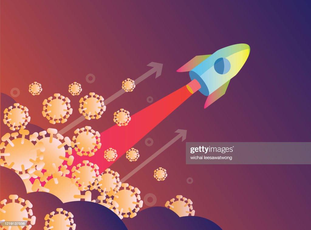 Rocket launch over virus. Victory over the virus covid-19 concept design. flat design vector illustration : stock illustration
