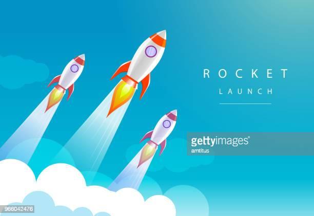 illustrazioni stock, clip art, cartoni animati e icone di tendenza di lancio di razzi - missile razzo spaziale
