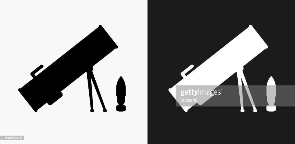Rocket Launcher Icon on Black and White Vector Backgrounds