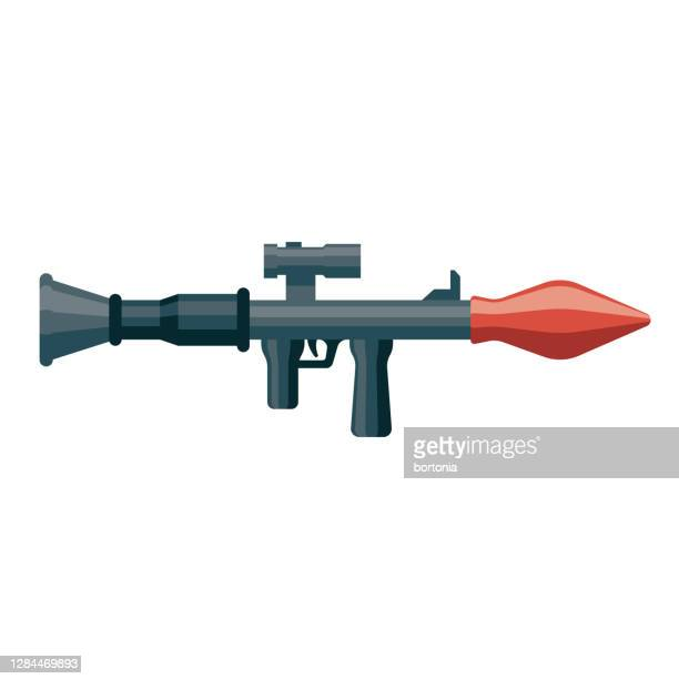rocket launcher icon on transparent background - us military stock illustrations