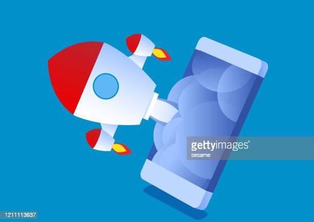 ilustrações, clipart, desenhos animados e ícones de lançamento de foguete no celular - festa de lançamento